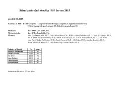 Státní závěrečné zkoušky PřF červen 2015