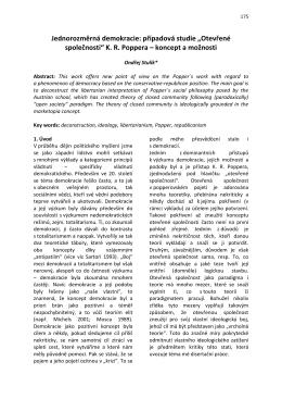 """Jednorozměrná demokracie: případová studie """"Otevřené společnosti"""""""