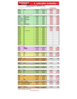 Ceník programu zahrada (křovinořezy, sekačky