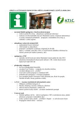 Zpráva o činnosti Infocentra města Mariánské Lázně za rok 2014