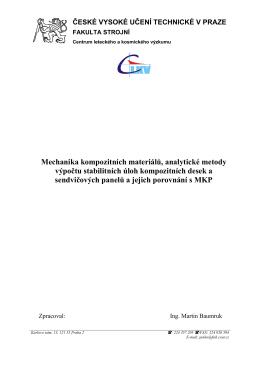 Mechanika kompozitních materiálů, analytické metody výpočtu