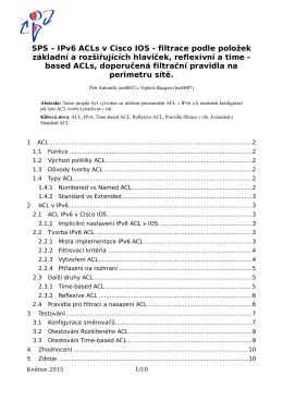 SPS – IPv6 ACLs v Cisco IOS - filtrace podle položek základní a