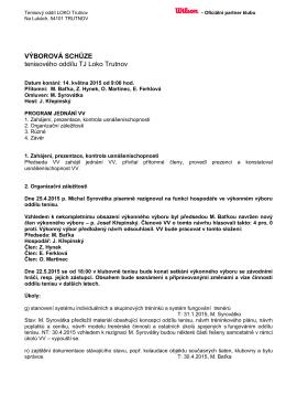 Zápis z výborové schůze
