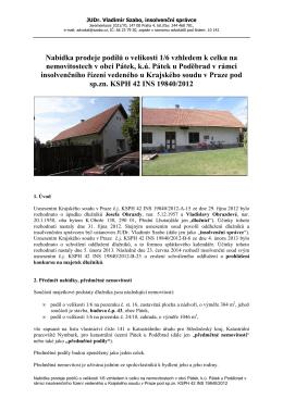 Podmínky nabídkového řízení - Advokátní kancelář JUDr. Vladimír