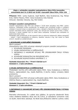 Zápis z veřejného zasedání zastupitelstva Obce Pičín konaného