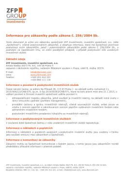 Informace pro zákazníky podle zákona č. 256/2004 Sb.