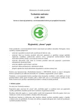 "2015 Hygienický ""tissue"" papír - CENIA, česká informační agentura"
