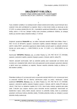 Dražební vyhláška Vepaspol Olomouc, a. s.