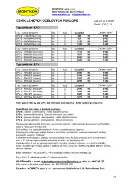Ceník lehkých ocelových poklopů 0115