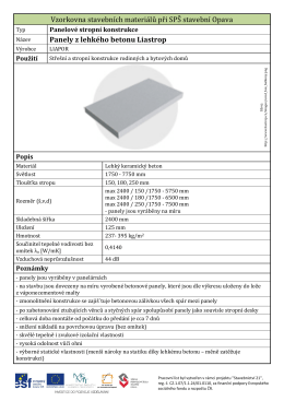 Panely z lehkého betonu Liastrop