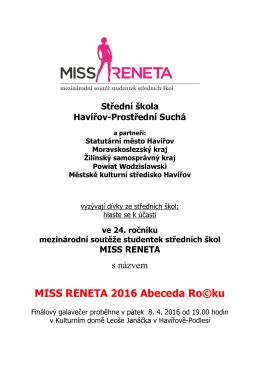 MISS RENETA 2016 Abeceda Ro©ku