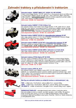 Zahradní traktory - akce, akční ceny a slevy