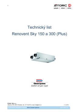 Technický list Renovent Sky 150 a 300 (Plus)