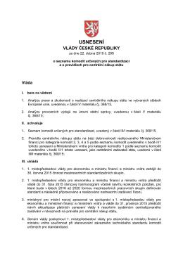 Usnesení vlády ze dne 22. dubna 2015 č. 289 o seznamu komodit