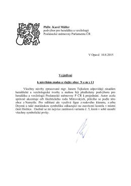 PhDr. Karel Müller podvýbor pro heraldiku a vexilologii Poslanecké