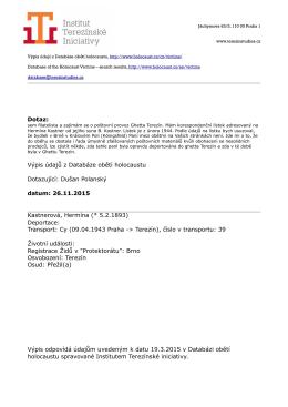 Dotaz: Výpis údajů z Databáze obětí holocaustu