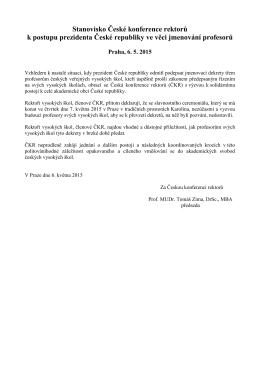 Stanovisko CKR k postupu prezidenta CR ve veci jmenovani
