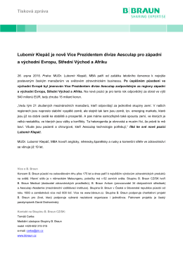 Tisková zpráva Lubomír Klepáč je nově Vice Prezidentem divize