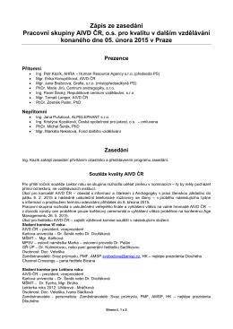 Zápis z PS pro kvalitu dne 5.2.2015