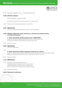 PROGRAM konference Asociace penzionů pro seniory České
