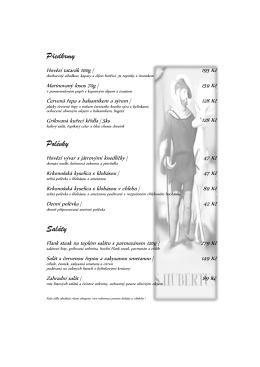 jídelní lístek - hotel Villa Hubertus