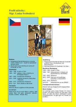 Profil učitelky: Mgr. Lenka Svobodová
