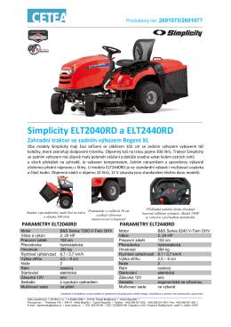 Produktový list Simplicity ELT2040RD a 2440RD