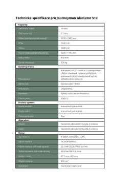 Technická specifikace pro Journeyman Gladiator 510 - atv
