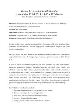 Zápis z 11. jednání Sociální komise ze dne 25.8.2015