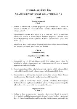 Studijní a zkušební řád - Západomoravská Vysoká Škola