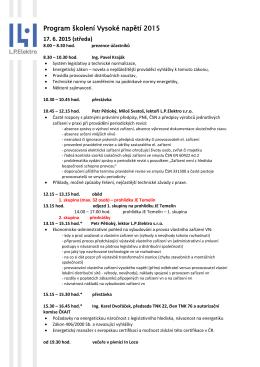 Program školení Vysoké napětí 2015