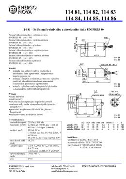 114 81 – 86 Snímač relativního a absolutního tlaku UNIPRES 80