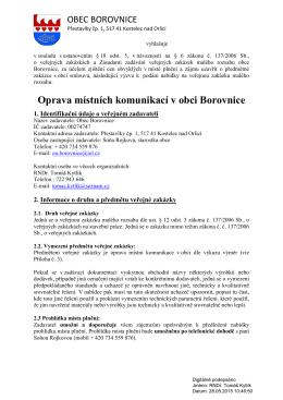 Oprava místních komunikací v obci Borovnice