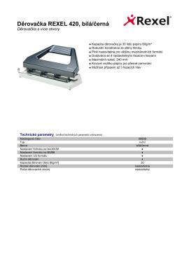 Produktový list - Děrovačka REXEL 420, bílá