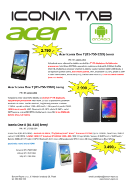 Acer Iconia One 7 (B1-750-19GV) černý Iconia One 8 (B1