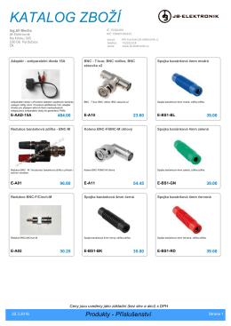 Katalog - příslušenství, měřící a napájecí kabely - JB