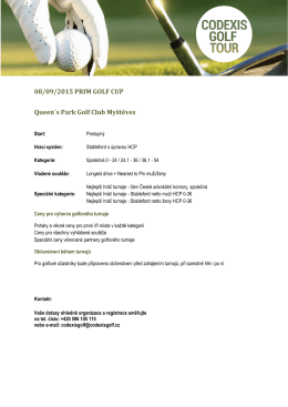 08/09/2015 PRIM GOLF CUP Queen´s Park Golf Club Myštěves