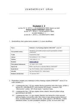Dodatek č.2 Katalogu objektů ZABAGED verze 2.5.