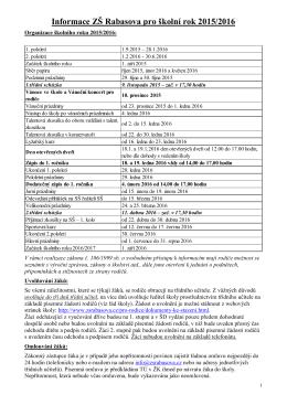 Informace ZŠ Rabasova pro školní rok 2015/2016