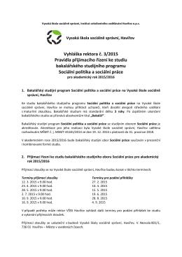Vyhláška rektora č. 3/2015 - Vysoká škola sociálně správní Havířov