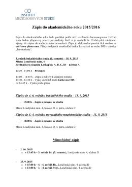 Zápis do akademického roku 2015/2016