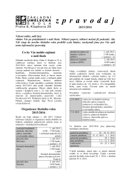 Zpravodaj 2015 - Základní umělecká škola, Praha 8, Klapkova 25