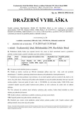DRAŽEBNÍ VYHLÁŠKA - Exekutorský úřad Havlíčkův Brod