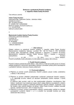 Smlouva o poskytnutí finanční podpory z rozpočtu města Český
