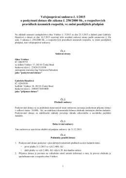 Veřejnoprávní smlouva č. 1/2015 o poskytnutí dotace dle