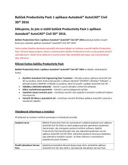 Balíček Productivity Pack 1 aplikace Autodesk® AutoCAD® Civil 3D