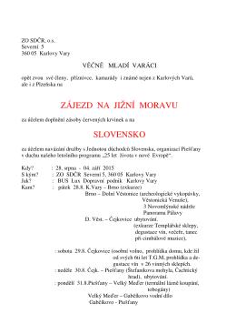 Pozvánka na zájezd Jižní Morava / Slovensko