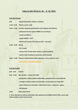 Exkurze jižní Čechy 8. 10. – 9. 10. 2015
