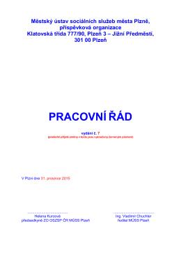 PRACOVNÍ ŘÁD - Městský ústav sociálních služeb města Plzně