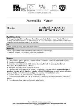 Pracovní list – Vernier